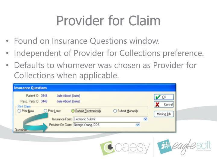 Provider for Claim