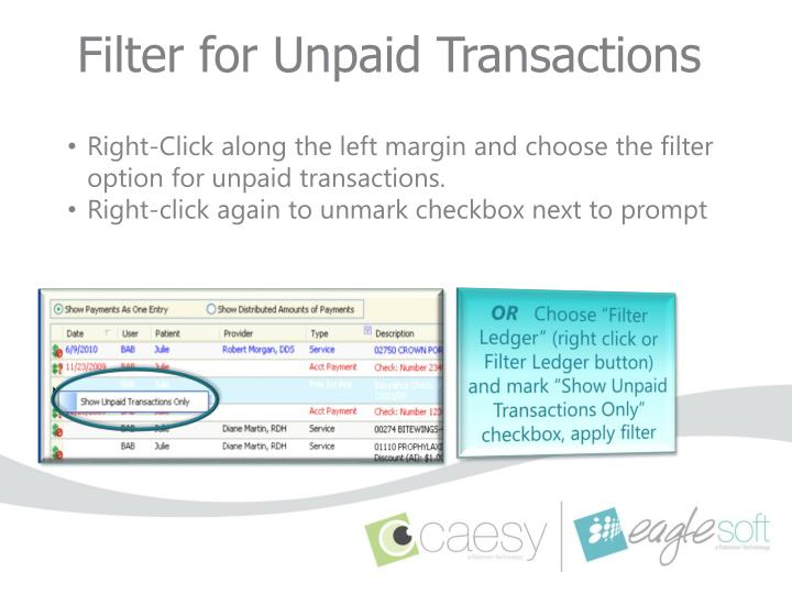 Filter for Unpaid Transactions