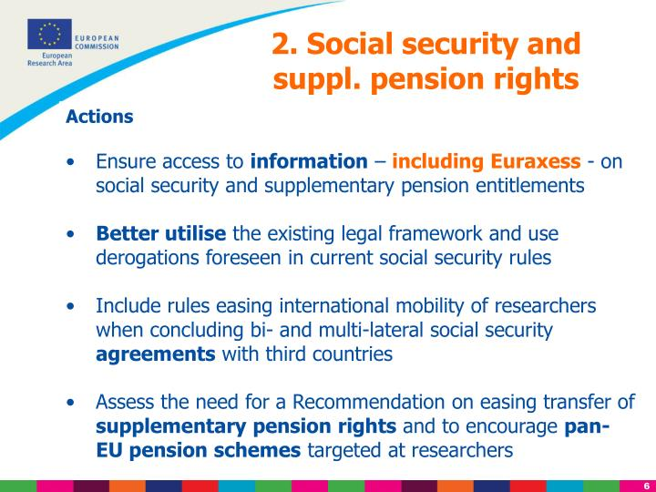 2. Social security and suppl. pension rights