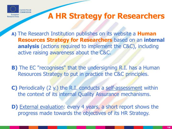 A HR Strategy for Researchers