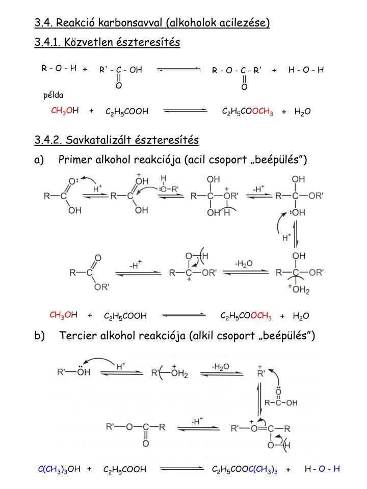 3.4. Reakció karbonsav