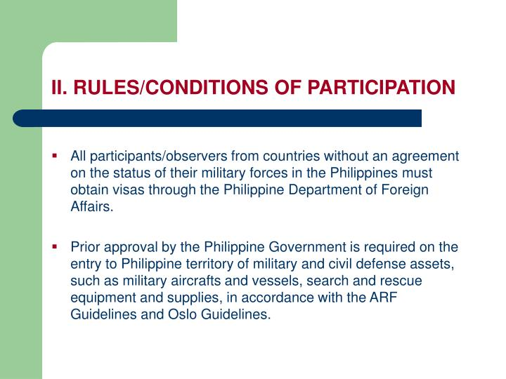 II. RULES/CONDITIONS OF PARTICIPATION