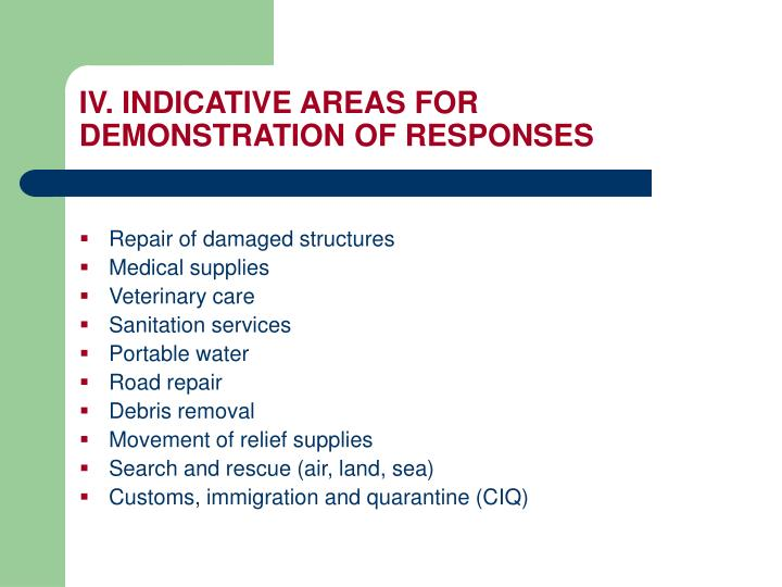 IV. INDICATIVE AREAS FOR DEMONSTRATION OF RESPONSES