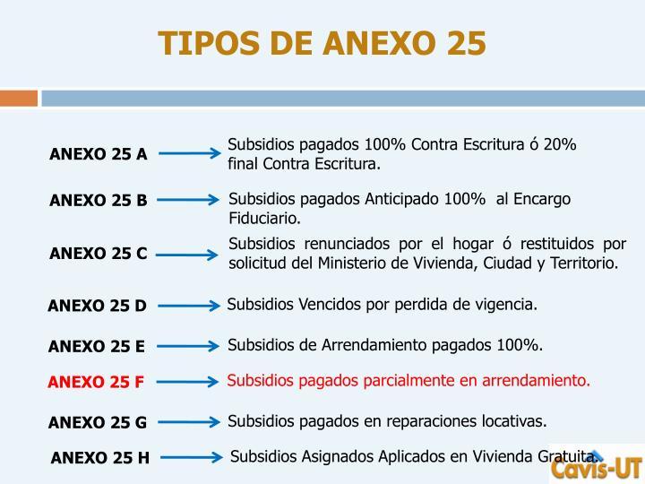 TIPOS DE ANEXO 25