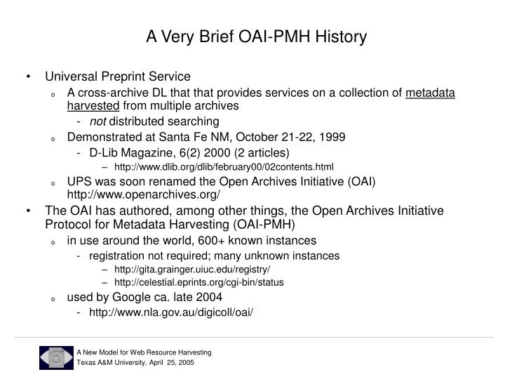 A Very Brief OAI-PMH History