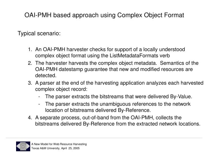 OAI-PMH based approach using Complex Object Format