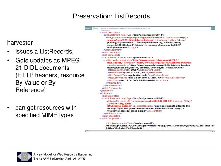 Preservation: ListRecords