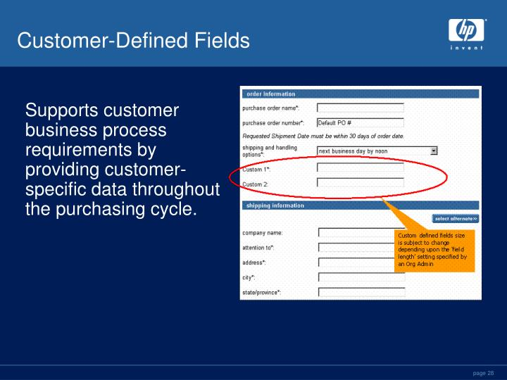 Customer-Defined Fields