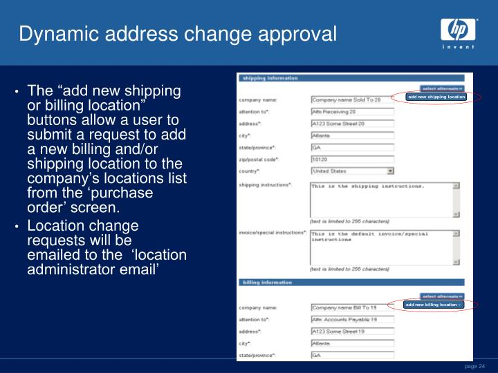 Dynamic address change approval