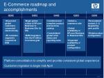 e commerce roadmap and accomplishments