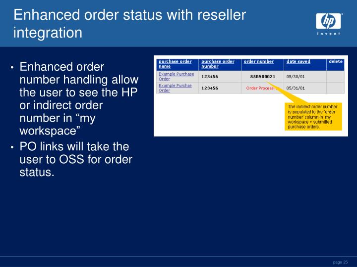 Enhanced order status with reseller integration