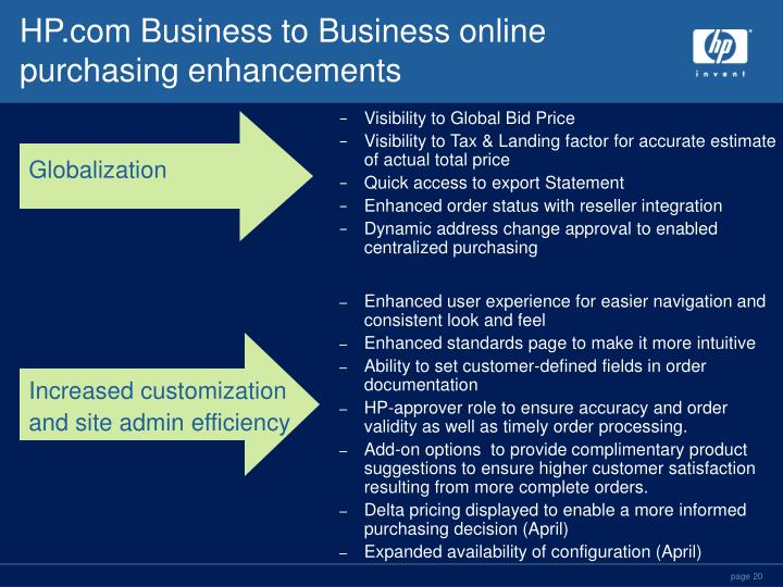 HP.com Business to Business online purchasing enhancements