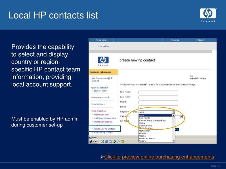 Local HP contacts list