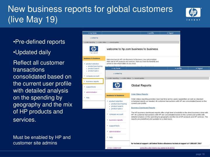 New business reports for global customers (live May 19)