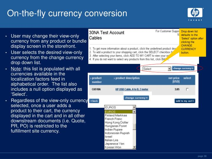 On-the-fly currency conversion