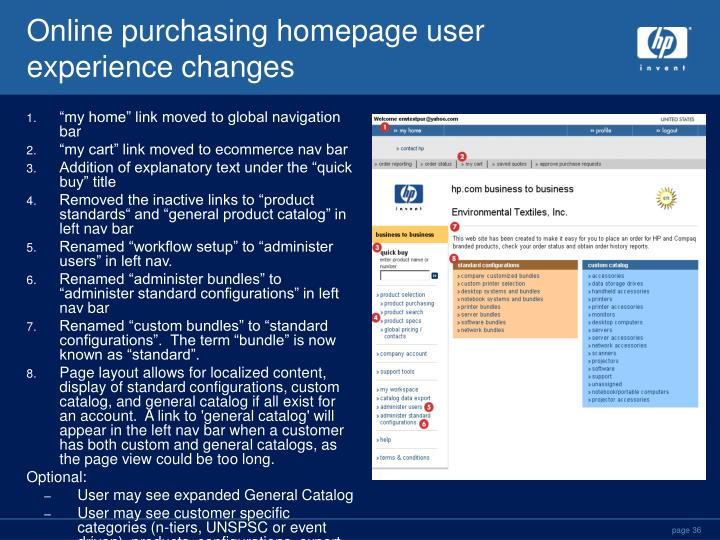 Online purchasing homepage user experience changes