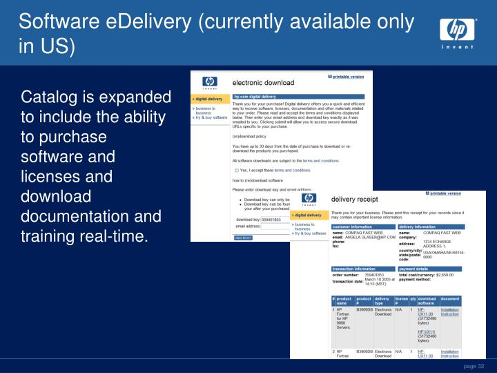 Software eDelivery (currently available only in US)