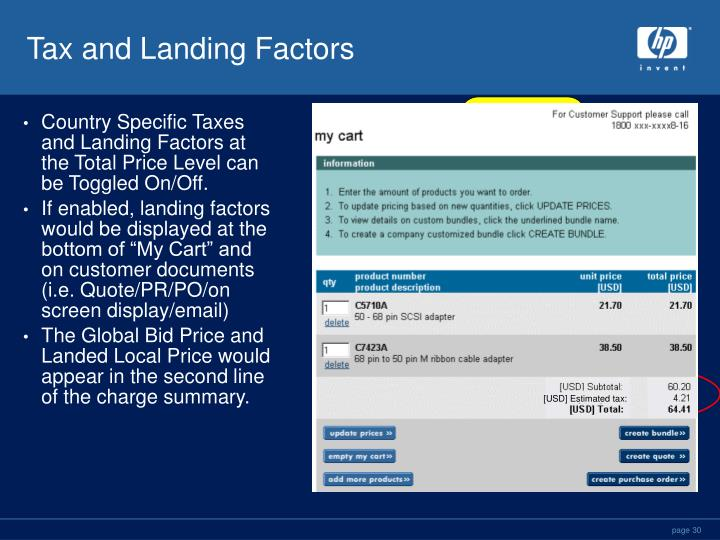 Tax and Landing Factors