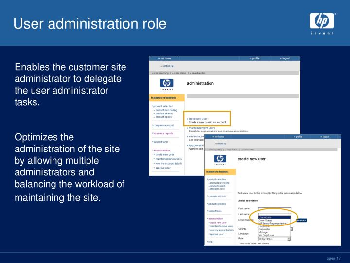 User administration role