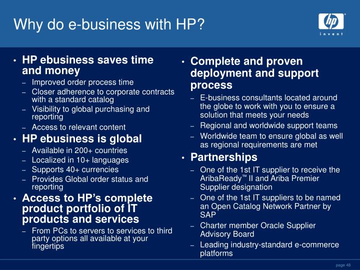 HP ebusiness saves time and money