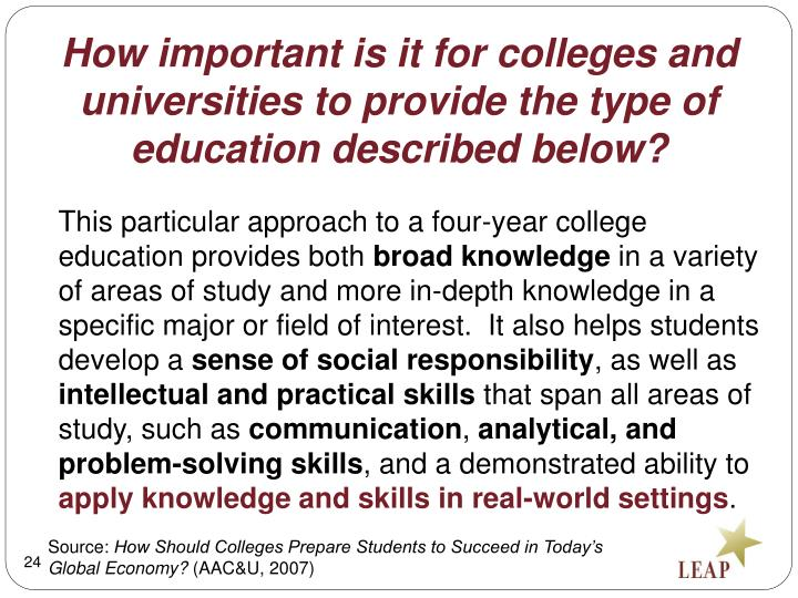 How important is it for colleges and universities to provide the type of education described below?