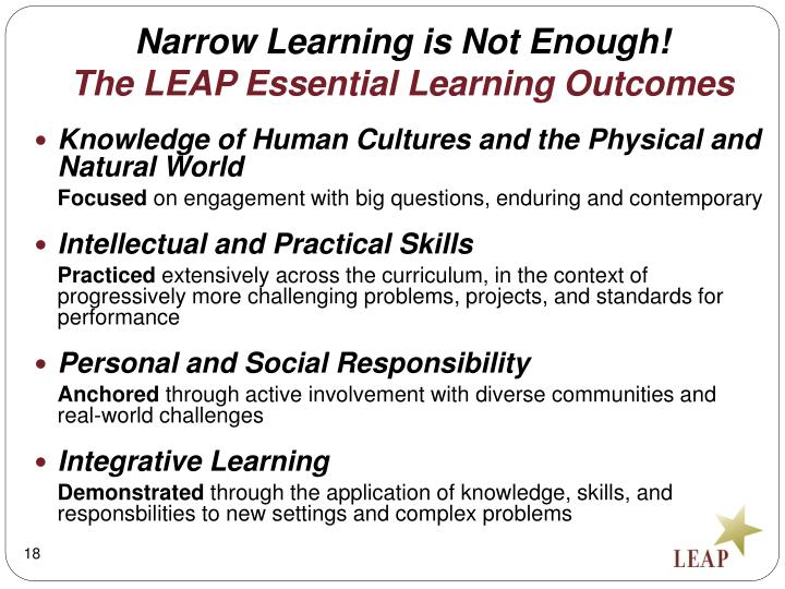 Narrow Learning is Not Enough!
