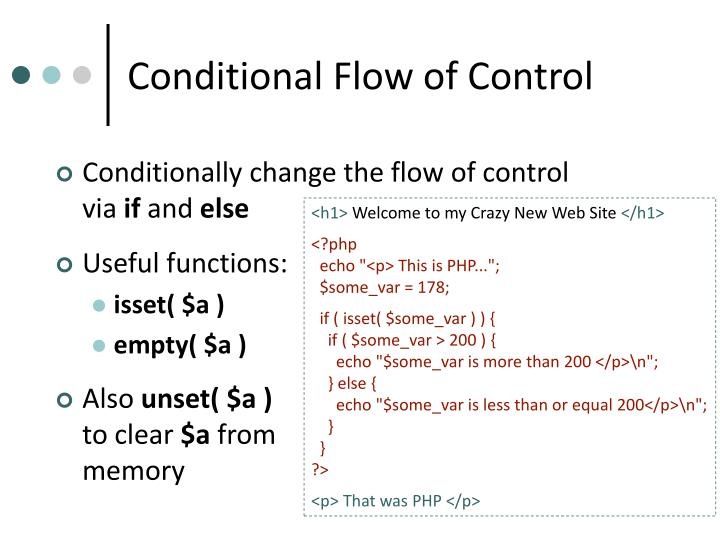 Conditional Flow of Control