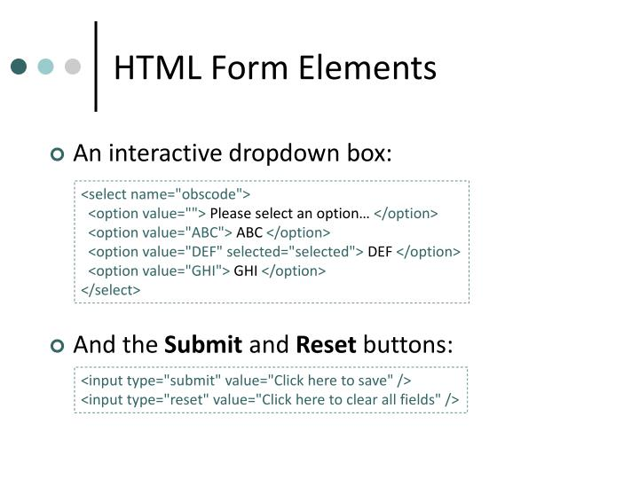 HTML Form Elements