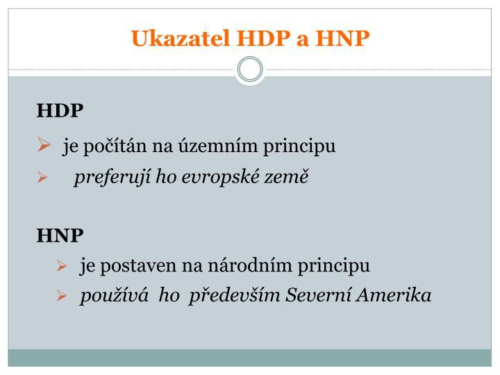 Ukazatel HDP a HNP