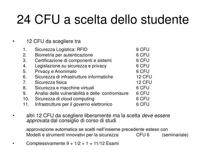 24 CFU a scelta dello studente