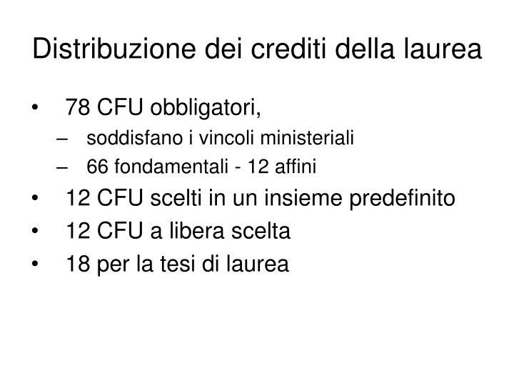 Distribuzione dei crediti della laurea