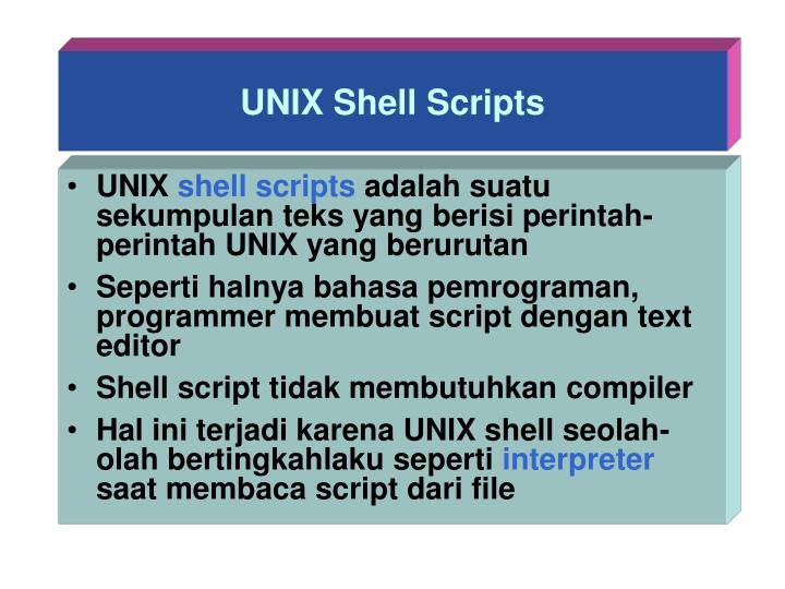Unix shell scripts