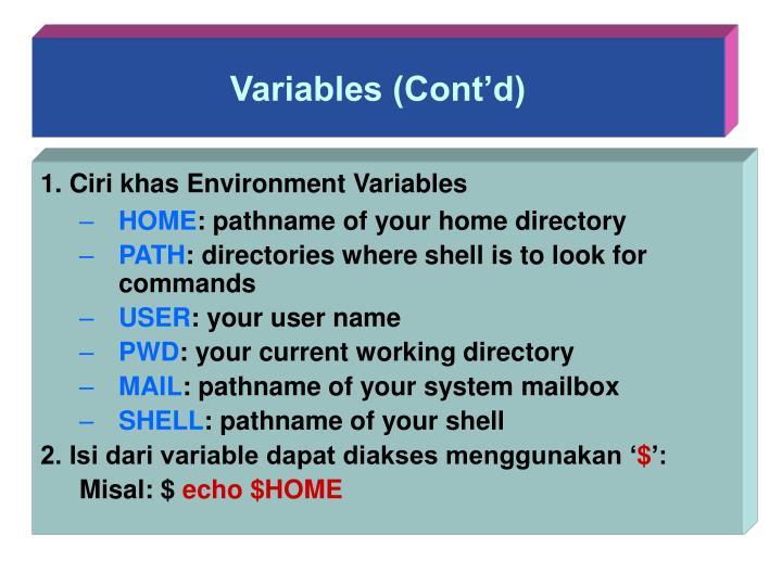 Variables (Cont'd)