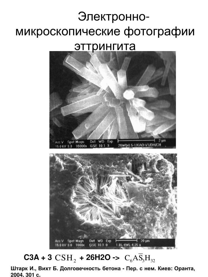 Электронно-микроскопические фотографии эттрингита