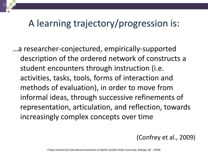 A learning trajectory/progression is: