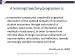 a learning trajectory progression is