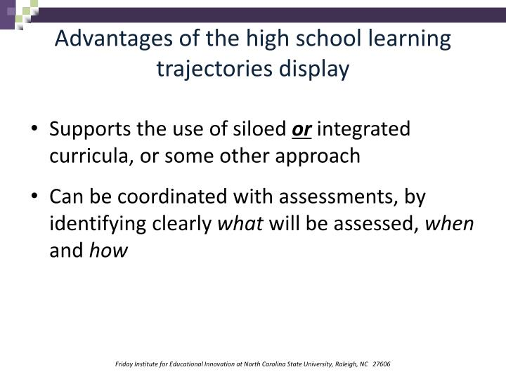 Advantages of the high school learning trajectories display