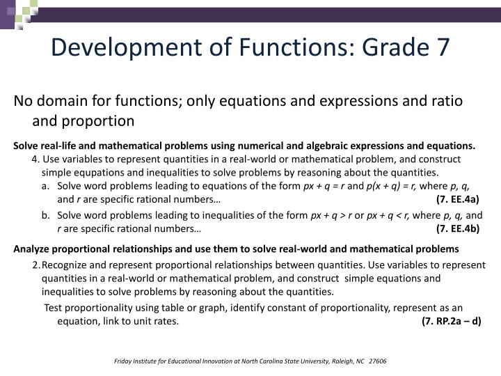 Development of Functions: Grade 7