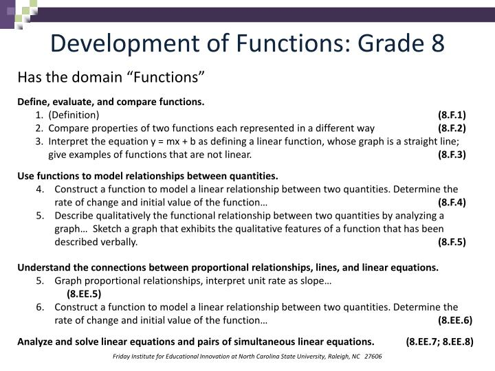 Development of Functions: Grade 8