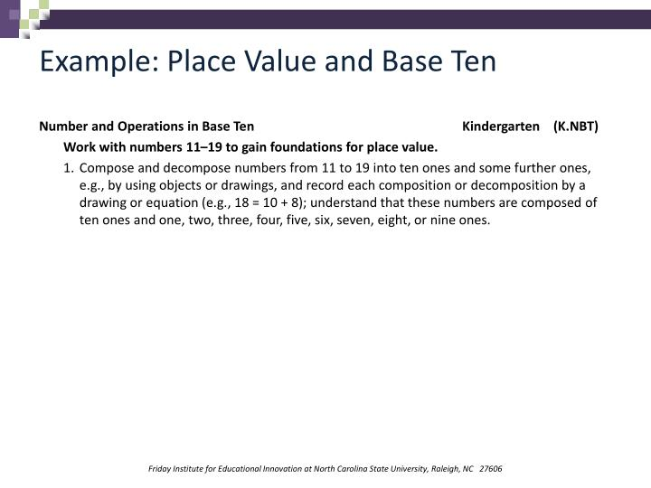 Example: Place Value and Base Ten