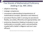 five strands of mathematical proficiency adding it up nrc 2001