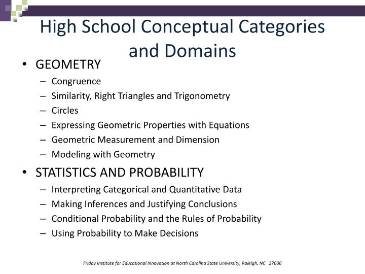 High School Conceptual Categories and Domains