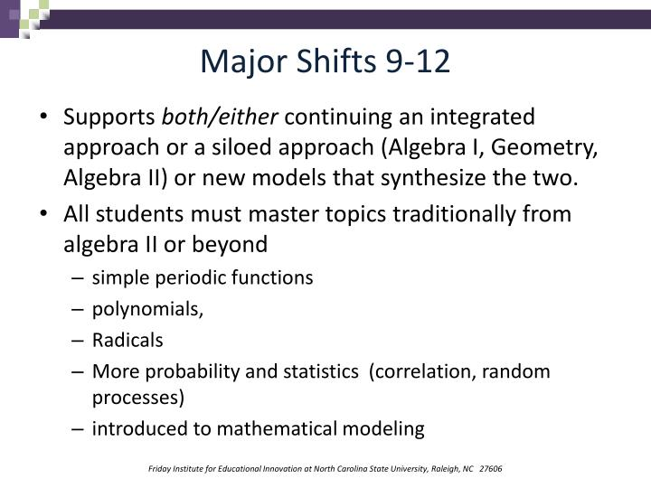 Major Shifts 9-12