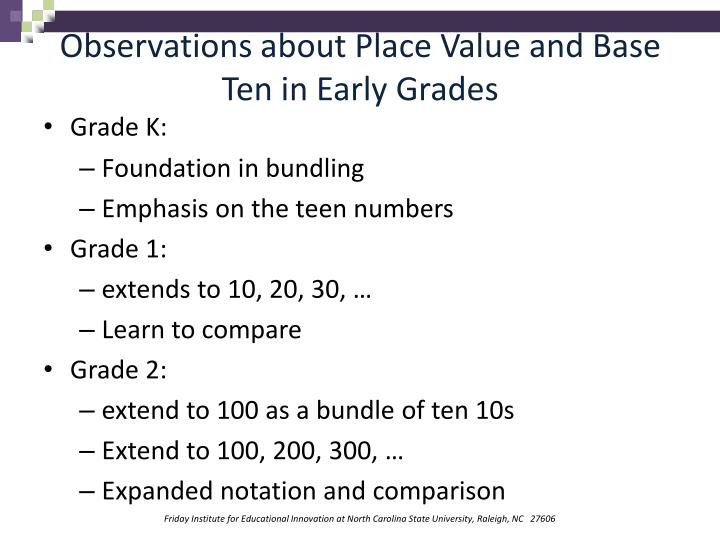 Observations about Place Value and Base Ten in Early Grades