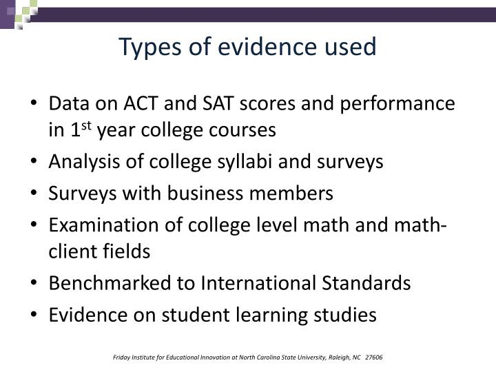 Types of evidence used