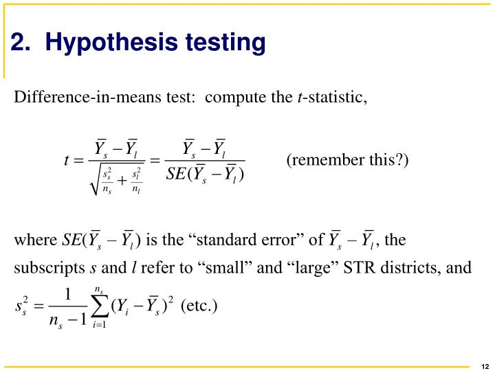 2.  Hypothesis testing