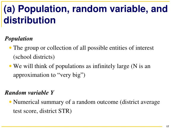 (a) Population, random variable, and distribution