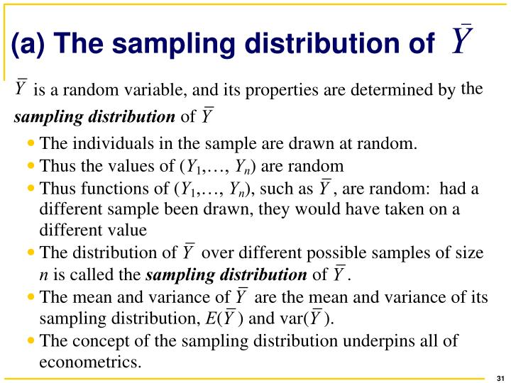 (a) The sampling distribution of