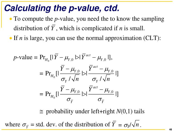 Calculating the p-value, ctd.