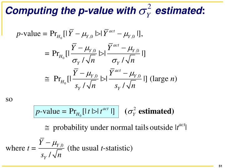 Computing the p-value with       estimated